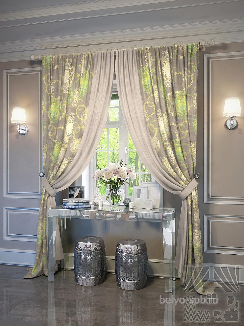 дизайн обоев и штор для гостиной фото